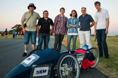 Race winners. The team and sponsors with the 2012 EV.